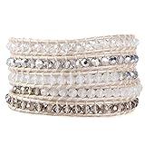 KELITCH Gray Crystal Mix Beaded 5 Wrap Bracelet Handmade Lvory Natural Leather Strand Bracelets New