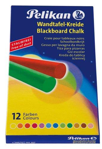 Pelikan 701367 Wandtafelkreide 745/12, 12 x 12 x 90 mm, farbig sortiert