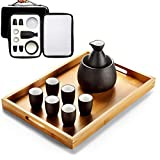 AMYZ Juego de Sake japonés con Bolsa de Almacenamiento Juego de Tazas de Sake 9 Piezas con Bandeja Vasos de cerámica de Porcelana Tradicional Copas de Vino artesanales,9 Piezas