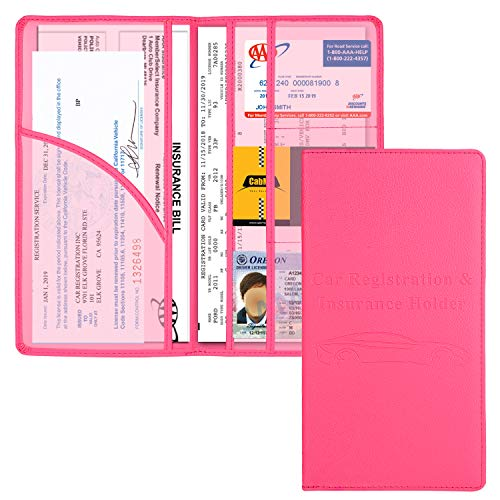 Car Registration and Insurance Holder, Vehicle Glove Box Car Organizer Men Women Wallet Accessories Case with Magnetic Shut for Cards, Essential Document, Driver License by Cacturism, Hot Pink