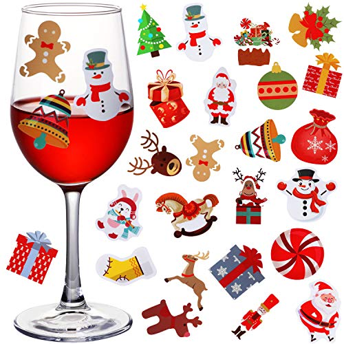 120 Stücke Weihnachten Weinglas Getränke Marken Wiederverwendbare Statische Haftaufkleber Lustige Wein Party Liefert Alternative zu Weinzauber