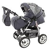Lux4kids Trío Cochecito 3 in 1 Silla de paseo ruedas fijas + capazo + silla para coche VIP Hecho en Europa Accesorios opcionales iCaddy + Siège auto GT-plata & onza 3in1+sombrilla