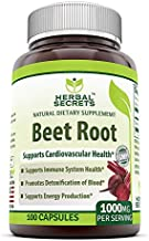Herbal Secrets Beet Root Natural Dietary Supplement - 1000 Milligrams per Serving 100 Capsules (Non-GMO) - Supports Cardiovascular Health * Promotes Energy Production*