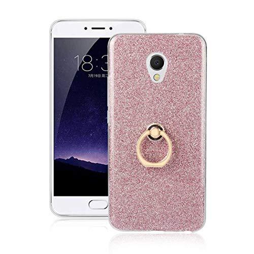 Ycloud Soft Silikon TPU Hülle für Meizu MX6 Smartphone, Funkeln Glitzer Handyhülle mit Ring-Schnalle Ständer Entwurf Ultra Slim Back Cover (Rosa)
