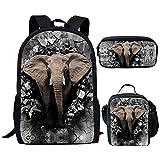 Cute Elephant 3D Print School Bag Sets para niños Mochila Animal Teen Boys Girls School Bookbag Poliéster Bolsas de Libros para niños