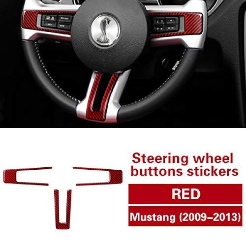 WHJIXC Calcomanías Adhesivas de Fibra de Carbono con botón de Volante Moldeado Interior del Coche, para Accesorios de automóviles Ford Mustang 2009-2013
