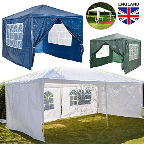 Waterproof 3x3m Garden Gazebo Large Marquee Tent, Powder Coated Steel Frame, Removable Side Panels for Outdoor Wedding Garden Party Event Commercial Trade - Green