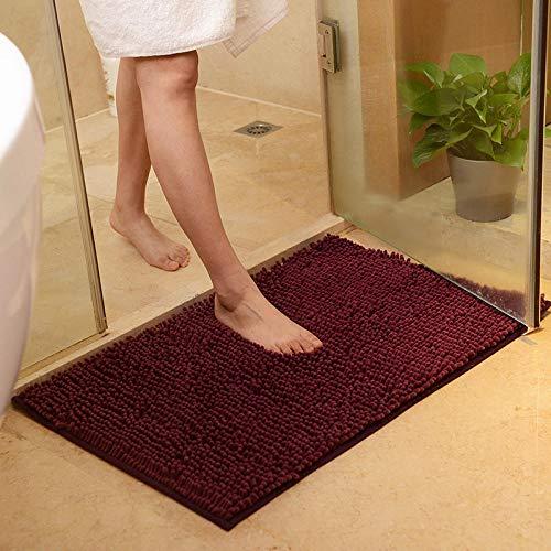 Morado Oscuro Alfombra De Baño Antideslizante Microfibra Chenille Súper Suave Absorbente Tapete De Piso para Ducha Cocina,Baño,Lavable A Máquina,40×60Cm