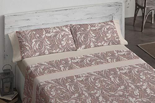 Burrito Blanco Juego de Sábanas 964 con Diseño Ornamental para Cama Individual de 90x190 hasta 90x200 cm/Juego de Cama 90, Color Beige