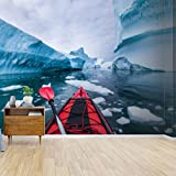 kayaking in antarctica between icebergs with inflatable kayak extreme Canvas Print Wallpaper Wall Mural Self Adhesive Peel & Stick Wallpaper Home Craft Wall Decal Wall Poster Sticker for Living Room