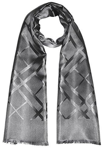 Lorenzo Cana Luxus Herrenschal 100% Seide aufwändig jacquard gewebt Damast Seidenschal Seidentuch Tuch silber-grau 25 cm x 160 cm 8921111