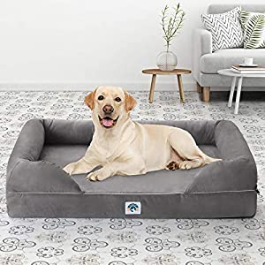 EASELAND Memory Foam Dog Bed for Small Medium Large Dogs Cats,Orthopedic Sofa Couch Lounge with Waterproof Lining, Machine Washable Cover for Pets,Anti-Skid,Grey