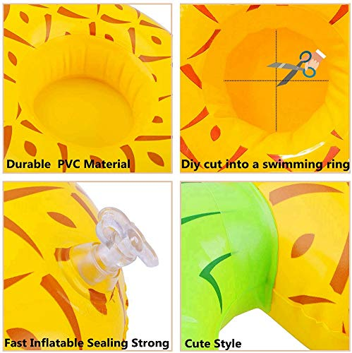 6 Pcs Small Animal Inflatable Float Toy Swimming Ring with Air Pump Bath Collar Ring