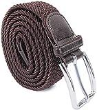 Leoodo Cinturón elástico para hombre y mujer, cinturón elástico trenzado con hebilla de metal, marrón oscuro, 120 cm