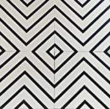 Moroccan Mosaic & Tile House 12 x 12 Ceramic Tile for Wall in White and Black