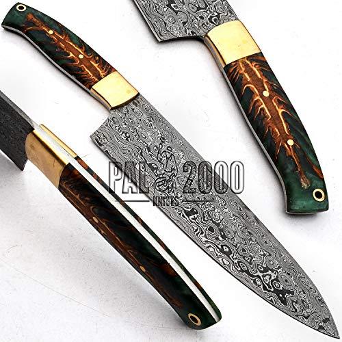 PAL 2000 SNTR-9721 - Cuchillo Damasco de acero damasco hecho a mano, cuchillo de...