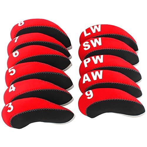 Craftsman Golfschlägerhauben aus Neopren, 11 Stück Für alle Marken Callaway, Ping, Taylormade, Cobra etc., schwarz / rot