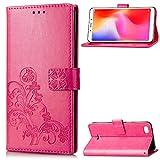 LAGUI Hülle Geeignet für Xiaomi Redmi 6A, Schönes Muster Brieftasche Lederhülle mit Kartenfächern Fach & Magnetische Verschluss, Anti-Scratch, stoßfeste Handyhülle. Rot