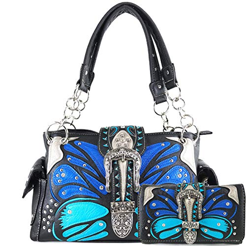Zelris Buckle Abstract Butterfly Artwork Women Conceal Carry Handbag Wallet Set (Blue)