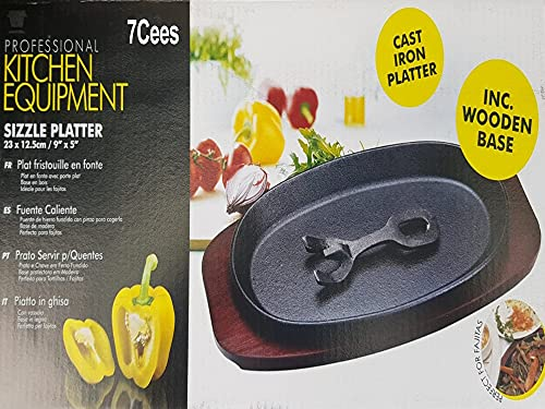 Cast Iron Plain Sizzler Steak Platter Oval Shape Pre-Seasoned Serving Dish with Bottom Wooden Base and Handle Oven to Table Food Hotter BBQ Grilling Cooking Accessory