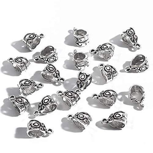 20 piezas de pulsera de abalorios de plata envejecida para accesorios de joyería DIY pendientes collares