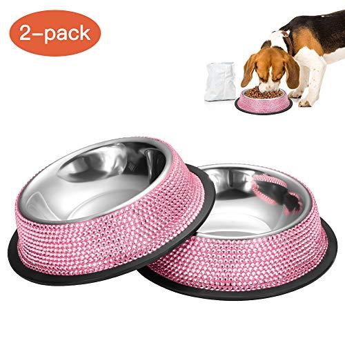 Ohok, ciotola per cani con strass e base in silicone antiscivolo in acciaio inox, ciotola in melamina, per cani e gatti (singolo, confezione da 2, 320 ml, rosa)