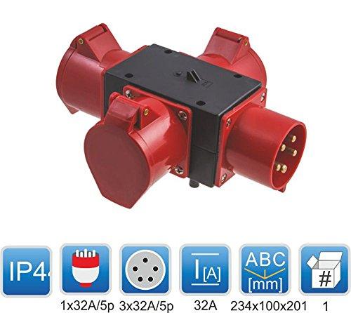 CEE Adapter 3 x 32A / 400 V Stromverteiler Baustromverteiler Verteiler