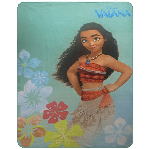 CTI - Disney - Plaid Polaire Vaiana Aloha 110x140 Polyester, Vert, 140 x 110 cm