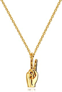 Girafe Peace Sign Necklace, 14k Gold 3D Victory Hand Gesture Pendant Women Necklace, 16inch