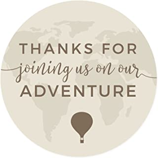 Andaz Press Hot Air Balloon World Map Party Collection, Vintage Tan Brown, Round Circle Label Stickers, Thank You for Joining Us on Our Adventure, 40-Pack