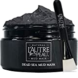 Dead Sea Mud Mask with Applicator Brush by L'AUTRE PEAU - Imported From Israel - 100% Natural Face and Body Mask - Minimize Pores, Oily Skin, Acne, and Blackheads - Great for Men and Women - 10.1 Ounce