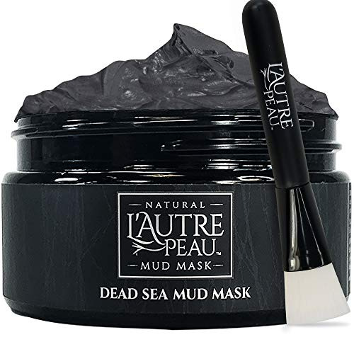 Dead Sea Mud Mask with Face Brush by L'AUTRE PEAU - Imported From Israel - 100% Natural Face and Body Mask - Minimize Pores, Oily Skin, Acne, and Blackheads - Great for Men and Women - 10.1 Ounce