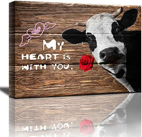 Meigan Art Canvas Wall Art Rustic Style Retro Funny Cow With Red Rose Wooden Background Canvas product image