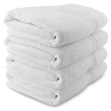 Utopia Towels 700 GSM Premium White Bath Towels Set - Pack of 4 - (27x54 Inches) - 100% Ring-Spun Cotton Towels for Home, Hotel and Spa – White Towels Set with Maximum Softness and High Absorbency