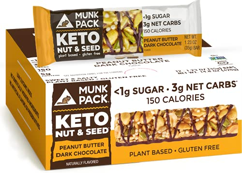 Munk Pack Keto Nut & Seed Bar, <1g Sugar, 3g Net Carbs, Keto Snacks, No Added Sugar, Plant Based, Gluten Free, Soy Free (Peanut Butter Dark Chocolate 12 Pack)