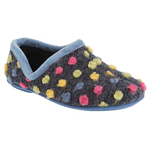 Sleepers Damen Jade Hausschuhe/Pantoffeln, Gepunktet (39 EUR/6 UK) (Hellblau/Bunt)