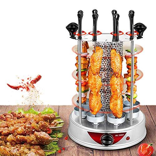 Angela Kleiner vertikaler Rotisserie-Ofen, rauchloser elektrischer Grill, automatische Rotationsgrillmaschine, 8 Gabeln, geeignet für die Verwendung in der Küche für Familien