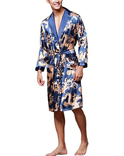 Asskyus Vestido de Kimono de Raso de los Hombres Estilo Largo Ligero de la luz