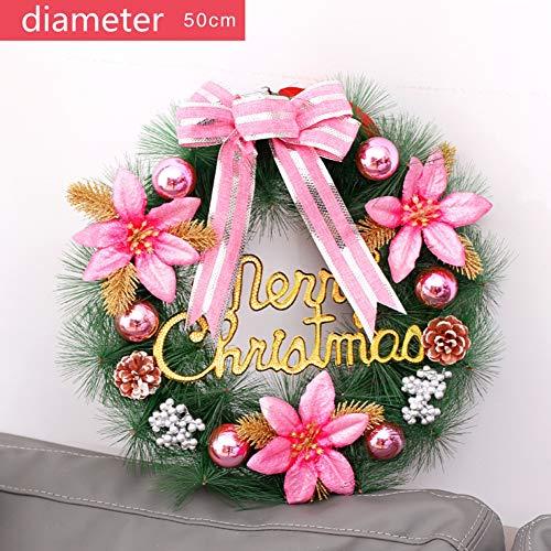 Qazwsxedc Weihnachtskranz, Weihnachtsdeko Türkranz, 50 cm Farbige Weihnachtskugelgirlande, Weihnachtsbaumzubehör, Neuer Weihnachtskugelring, 8 Stück Optional,6