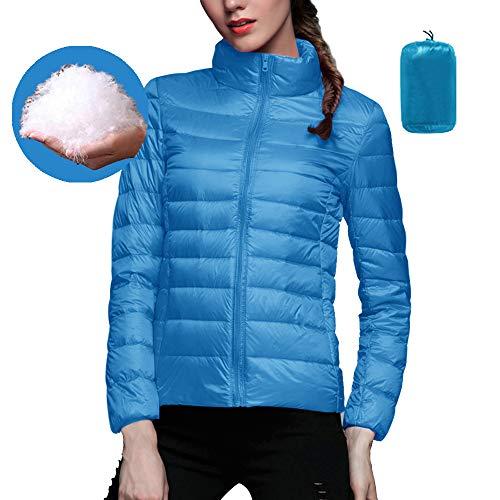 Shujin Damen Winter Warm Daunenjacke Winterjacke Ultra Leicht Steppjacke Parka Übergangsjacke Stehkragen Ohne Kapuze