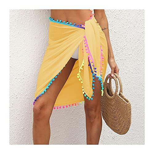 YUHUA-SHOP1983 Sarong Pareo Playa de Verano Sarongs Mujeres Malla Malla Traje de baño Wrap Falda Bikini Cubierta de Borla Colorida Falda Suelto (Color : Yellow, Size : One Size)