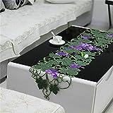 TREE- Pastoral camino de mesa de lujo bordado de tela calada mesa de café camino de mesa de comedor fresco y hermoso, 33 * 180cm