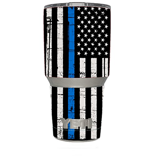 Skin Decal Vinyl Wrap for Yeti 30 oz Rambler Tumbler stickers skins cover/Thin Blue Line Blue Lives Matter Subdued Distressed American Flag U.S. Police