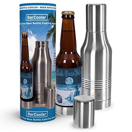 barcooler enfriador de botella de cerveza de acero inoxidable aislante. Doble pared. INCLUYE Bonus E-book + caja de regalo