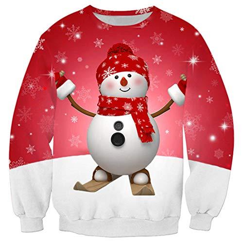 PANBOB Pullovers Herren Rundhals 3D Schneemann Weihnachten Schneetag Drucken Sweatshirt Frühling Und Herbst Langarm Ohne Kapuze Komfortabel Strassenmode Sweatshirt A-Red M