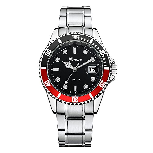 DAY.LIN Uhr Herren Uhren Herrenuhr Men Fashion Military Edelstahl Datum Sport Quarz Analog Armbanduhr (Rot)