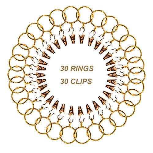 CUKCIC Vorhangringe mit Clips 30 Stücke Gardinenringe Metall Vorhänge Hängende Ringe Clips Duschvorhangringe (38mm-Innendurchmesser, Gold)