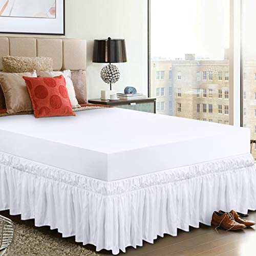 Utopia Bedding Elastic Bed Valance Skirt with Ruffles - Soft Brushed Microfiber Ruffle Drop: 40 cm - (Double 135 x 190 cm, White)