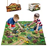Dinosaur Toys - 12 Pcs Dinosaur Figures, Activity Play Mat & Trees for Creating a Dino World Including T-Rex, Triceratops, etc, Perfect Dinosaur Playset for 3,4,5,6 Years Old Kids, Boys & Girls