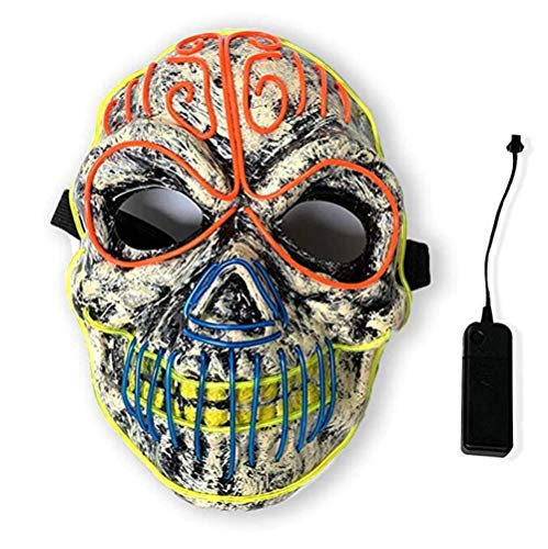 LG&S Colorido EL Wire Scary Skull Purge Mask Disfraces de Halloween Cosplay Mask Props
